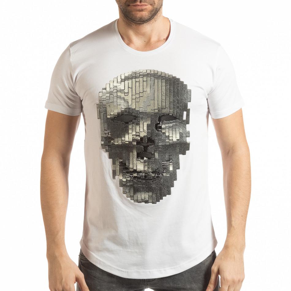 Tricou pentru bărbați alb cu craniu de cauciuc tsf190219-23