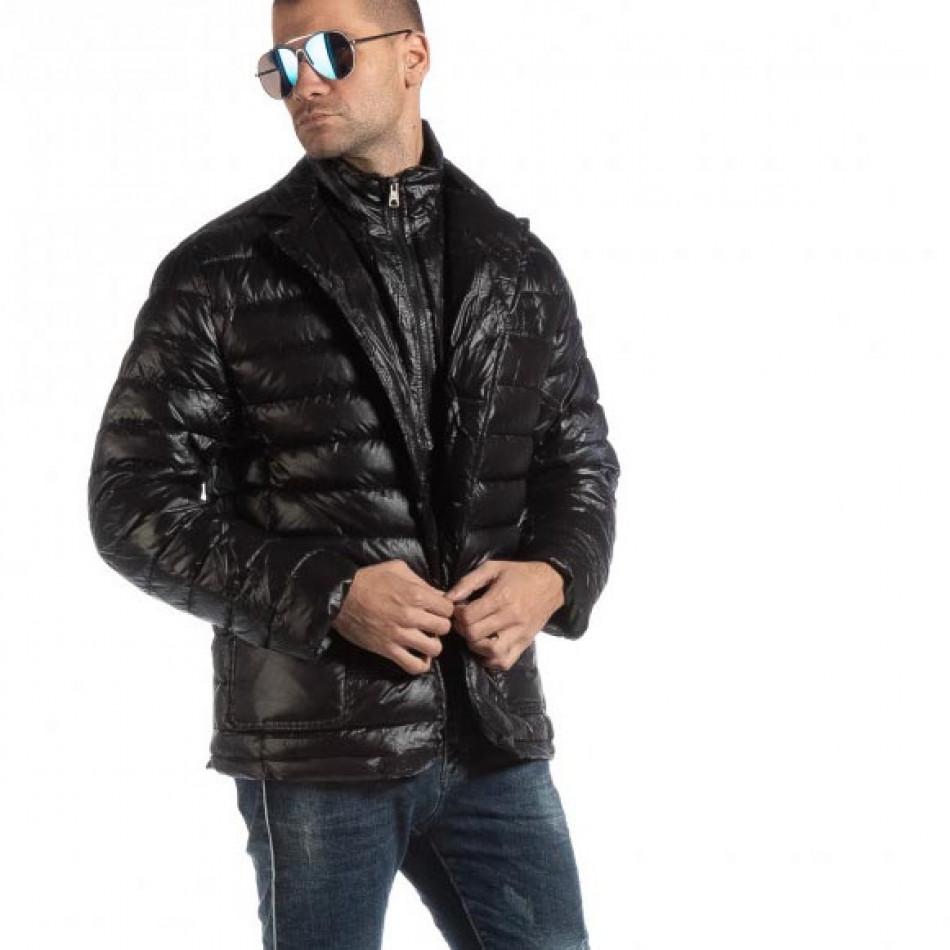 Geacă neagră din puf tip blazer pentru bărbați it261018-130