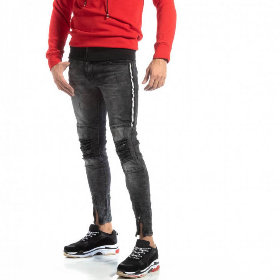 Worn Jeans în gri cu accente pentru bărbați  it261018-19