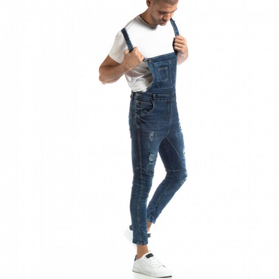 Salopetă de blugi în albastru cu patch-uri pentru bărbați it261018-5