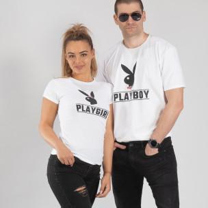 Tricouri pentru cupluri Playboy alb