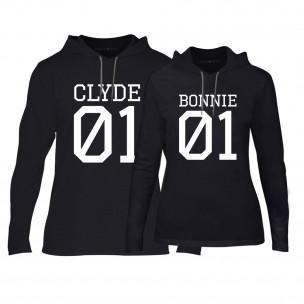 Hanorace pentru cupluri Bonnie 01 & Clyde 01 negru