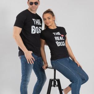 Tricouri pentru cupluri Boss negru