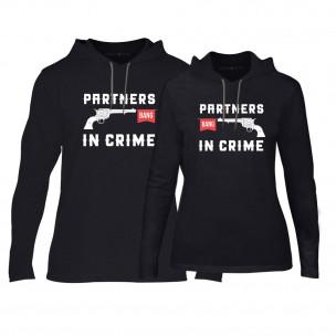 Hanorace pentru cupluri Partners in Crime negru