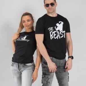 Tricouri pentru cupluri Beauty & Beast negru