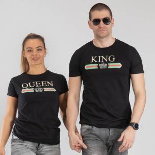 Tricouri pentru cupluri Fashion King Queen negru