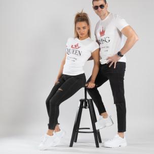 Tricouri pentru cupluri King Queen alb