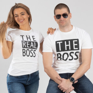 Tricouri pentru cupluri The Actual Boss alb