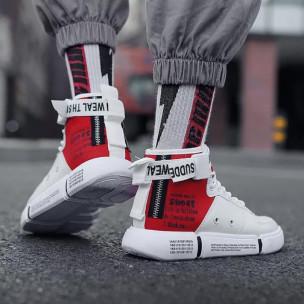 Teniși înalți bărbați Fashion albi 2