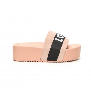 Papuci de dama roz LOVE cu platformă