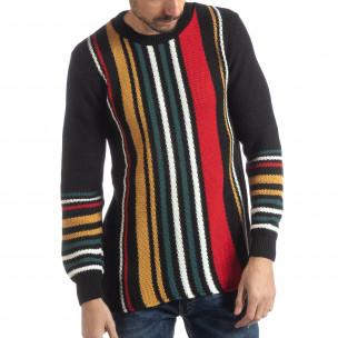 Pulover pentru bărbați negru cu dungi colorate