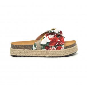 Papuci de dama cu print floral și fundă