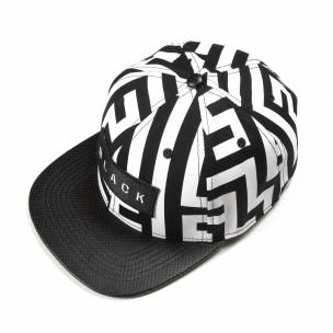 Șapcă în negru-alb cu inscripție Black