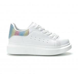 Pantofi sport albi de dama cu călcâi multicolor
