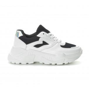 Pantofi sport de dama în alb și negru cu talpă groasă