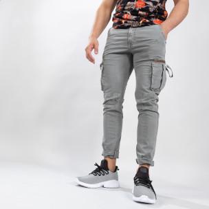 Pantaloni cargo gri drepți pentru bărbați