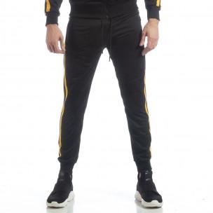 Pantaloni sport de bărbați Biker negri cu benzi galbene  2