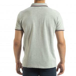 Tricou polo shirt gri pentru bărbați  2