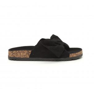 Papuci pentru dama negri cu fundă