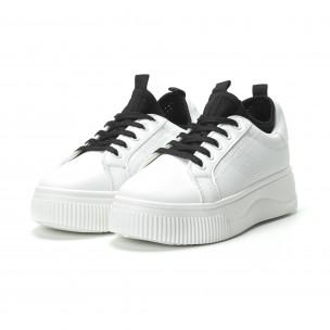 Teniși albi cu șosetă încorporată pentru dama 2