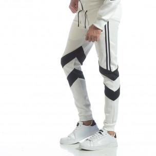 Pantaloni sport de bărbați albi cu V benzi