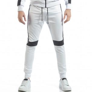 Pantaloni sport de bărbați albi cu negru  2
