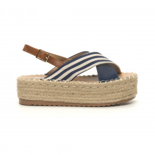 Sandale de dama albastre tip espadrile