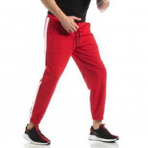 Pantaloni de trening pentru bărbați în roșu cu bandă