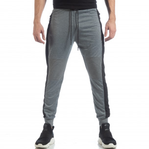 Pantaloni sport Biker de bărbați gri deschis cu bandă  2