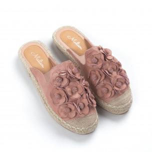 Espadrile de dama roz fără călcâi 2