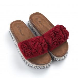 Papuci de dama roșii cu flori și platformă 2