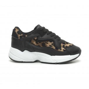Pantofi sport de dama negru și leopard cu talpă înaltă FM