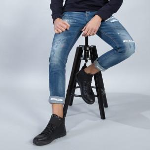 Blugi albaștri pentru bărbați cu imprimare și manșete