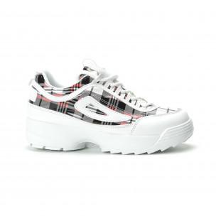 Pantofi sport de dama albi cu talpă Chunky