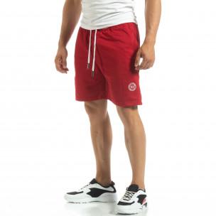Pantaloni sport scurți de bărbați din tricot roșu