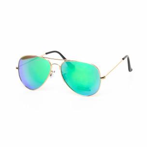 Ochelari de soare Aviator cu lențile în albastru si verde tip oglindă