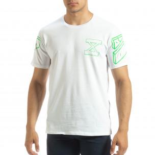 Tricou alb de bărbați cu imprimeu verde pe spate