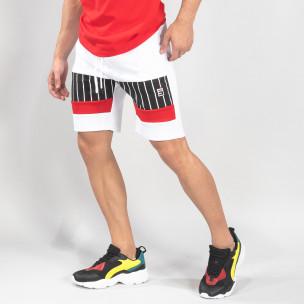 Pantaloni scurți de sport albi cu benzi pentru bărbați