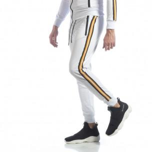 Pantaloni de trening 5 striped albi pentru bărbați