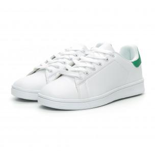 Teniși de dama albi Basic cu călcâi verde 2