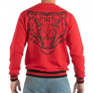 Bluză roșie matlasată pentru bărbați cu imprimare pe spate  2