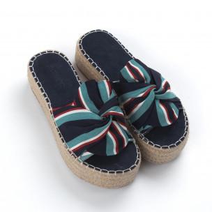 Papuci de dama în dungi tip espadrile 2
