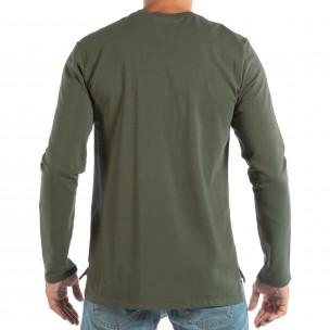 Bluză pentru bărbați verde basic din bumbac  2