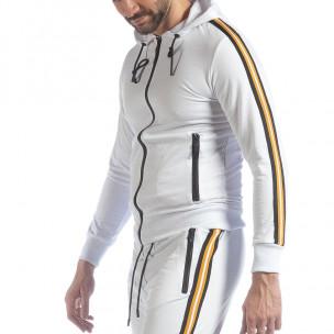 Hanorac pentru bărbați alb 5 striped