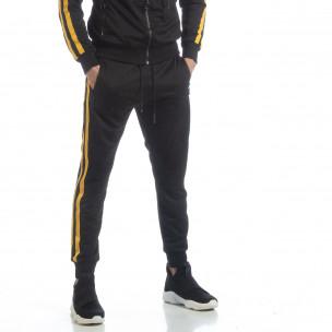 Pantaloni sport de bărbați Biker negri cu benzi galbene
