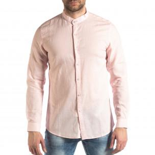 Cămașă de bărbați din in și bumbac în roz