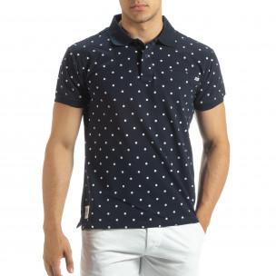 Polo shirt bleumarin de bărbați motiv Clover