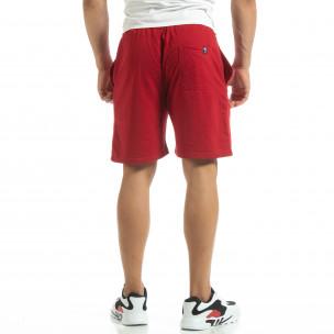 Pantaloni sport scurți de bărbați din tricot roșu 2