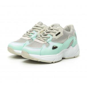 Pantofi sport de dama bej și verde cu talpă groasă FM 2