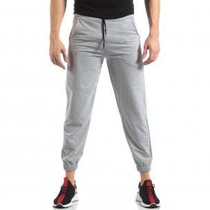 Pantaloni de trening pentru bărbați în gri cu bandă  2